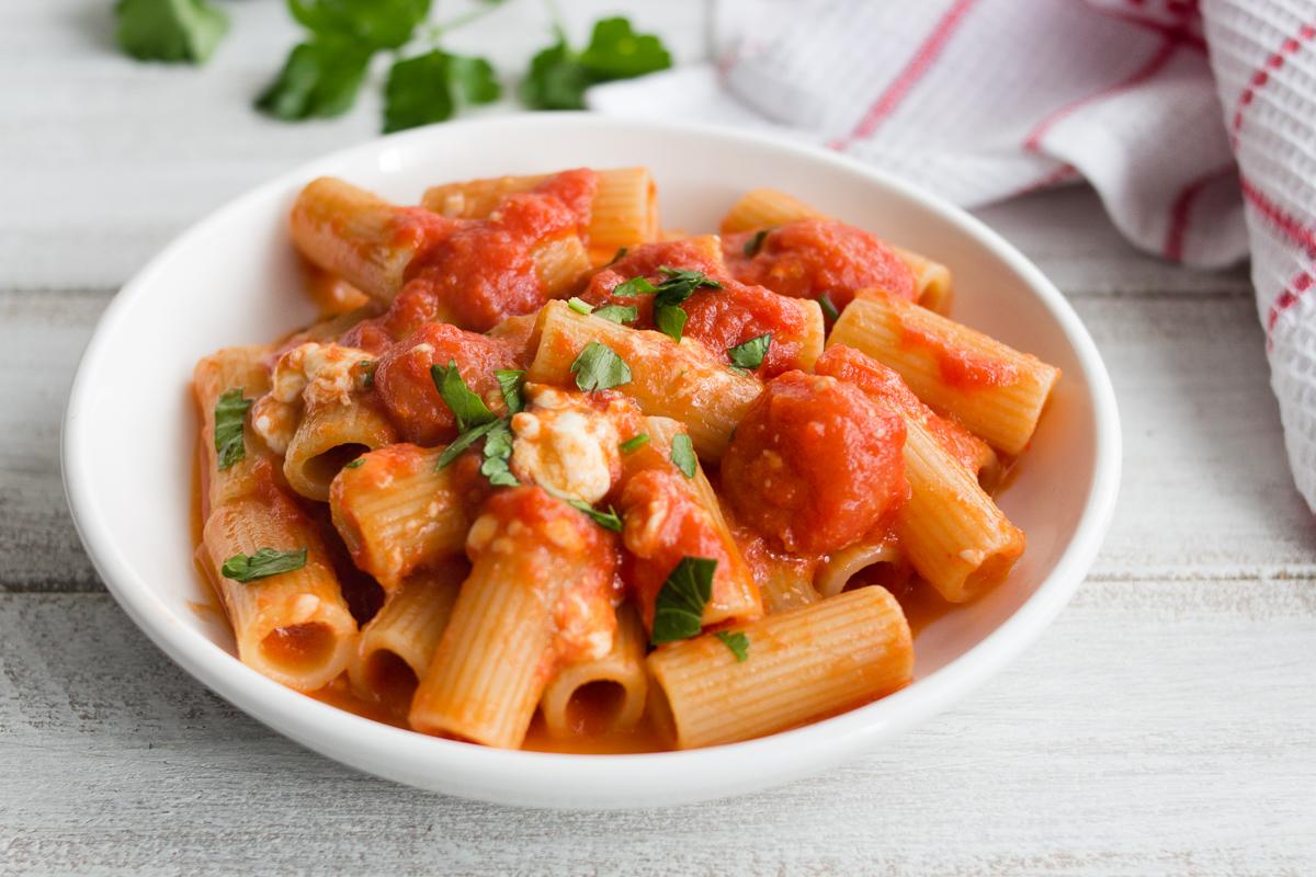 Rigatoni met winterse tomatensaus