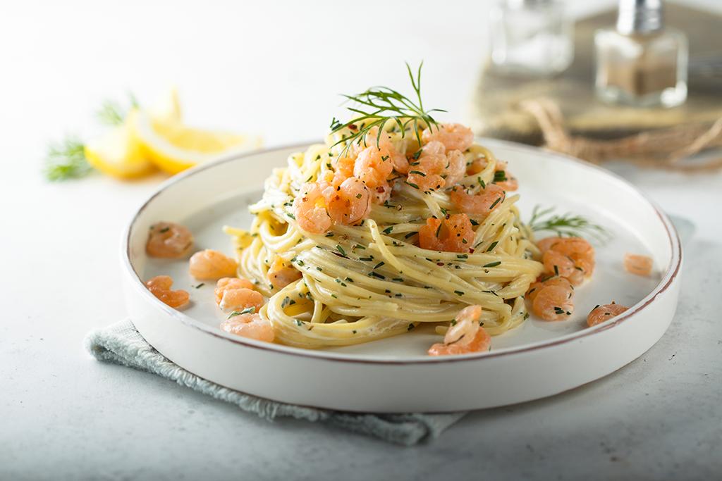 Spaghetti met granalen en Pernod